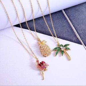 Jewelry - Gold And Pink Crystal Flamingo Necklace